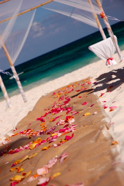 tulum wedding set up